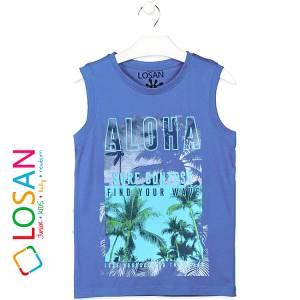 Μπλούζα αμάνικη για αγόρι σταμπωτό Wave Losan