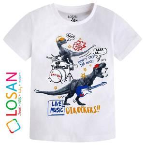 Μπλούζα με κοντό μανίκι για αγόρι σταμπωτό Music Losan