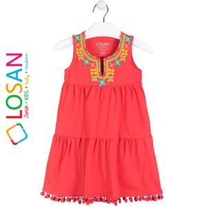 Φόρεμα κοριτσίστικο με ελαστικότητα και απλικέ Losan