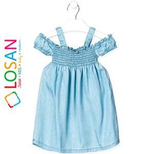 Φόρεμα τζιν με άνοιγμα στους ώμους κορίτσι Losan