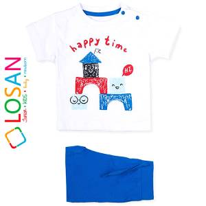 Σετ μπλούζα με βερμούδα παντελόνι βρεφικό αγόρι με στάμπα Time Losan