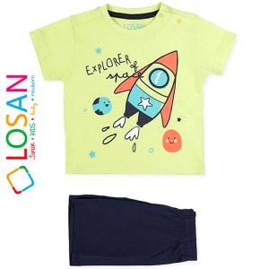Σετ μπλούζα με βερμούδα παντελόνι βρεφικό αγόρι με στάμπα Explorer Losan