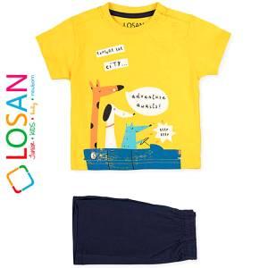 Σετ μπλούζα με βερμούδα παντελόνι βρεφικό αγόρι με στάμπα CityLosan
