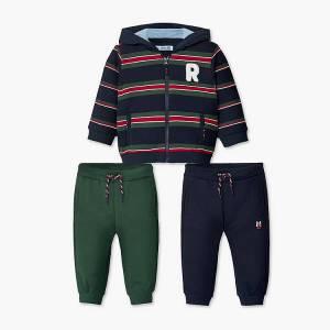 Φόρμα φούτερ με ζακέτα και δύο παντελόνια για baby αγόρι Mayoral