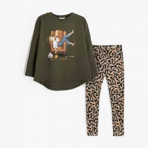 Σετ μπλούζα με κολάν κοριτσίστικο με τύπωμα πολυθρόνα Mayoral