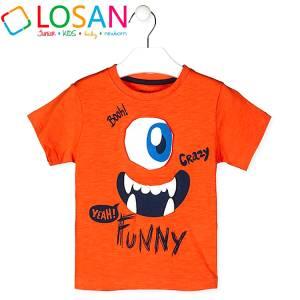 Μπλούζα με κοντό μανίκι για αγόρι σταμπωτό crazy Losan