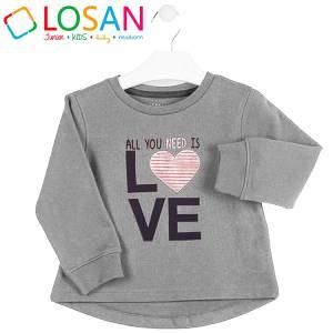 Μπλούζα φούτερ με μακρύ μανίκι κοριτσίστικη με τύπωμα Heart Losan
