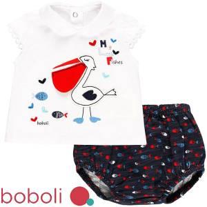 Σετ μπλούζα με κοντό παντελόνι βρεφικό κορίτσι fishes Boboli