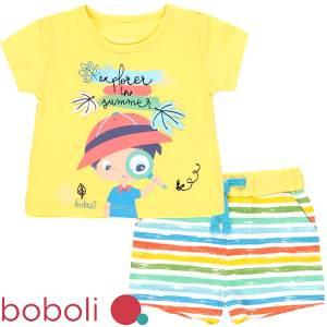 Σετ μπλούζα με κοντό παντελόνι βρεφικό αγόρι boy Boboli
