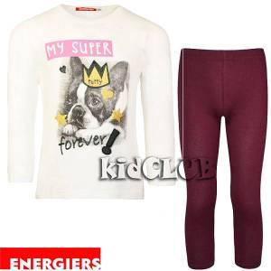 Σετ μπλούζα και κολάν κορίτσι με τύπωμα Super Energiers