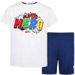 Σετ μπλούζα με κοντό παντελόνι αγόρι σταμπωτό Super Energiers