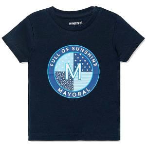 Μπλούζα βρεφική για αγόρι με κοντό μανίκι μακό με μεταξοτυπία Full MAYORAL