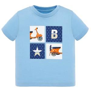 Μπλούζα βρεφική για αγόρι με κοντό μανίκι μακό με μεταξοτυπία Βέσπα MAYORAL