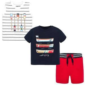 Σετ μπλούζα αμάνικη,κοντομάνικη και βερμούδα βρεφικό αγόρι Βάρκες MAYORAL