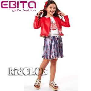 Σετ μπλουζάκι με φούστα και μπουφανάκι για κορίτσι σταμπωτό EBITA