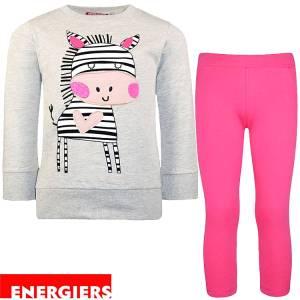 Φόρμα φούτερ με κολάν κοριτσίστικη με τύπωμα ζωάκι Energiers