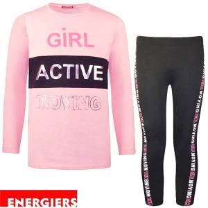 Φόρμα φούτερ με κολάν κοριτσίστικη με τύπωμα Girl Energiers