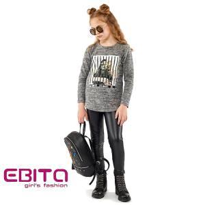 Μπλούζα μακρυμάνικη κοριτσίστικη με τύπωμα και στρας Ebita Fashion