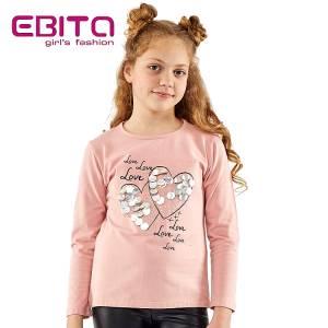 Μπλούζα μακρυμάνικη κοριτσίστικη με τύπωμα και πούλιες Ebita Fashion