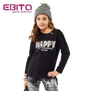 Μπλούζα μακρυμάνικη κοριτσίστικη με απλικέ και πούλιες Ebita Fashion