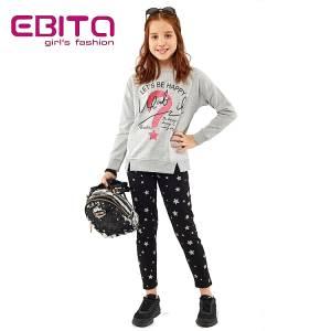 Σετ φούτερ με κολάν κοριτσίστικο σταμπωτό What Ebita Fashion