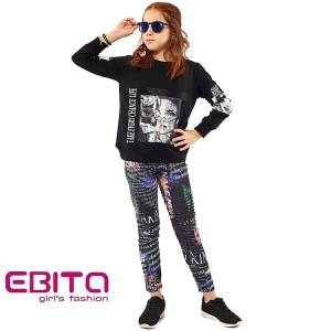Σετ φούτερ με κολάν κοριτσίστικο σταμπωτό Foto Ebita Fashion