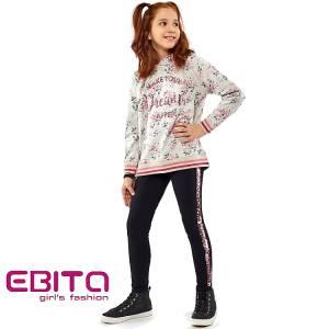 Σετ φούτερ με κολάν κοριτσίστικο σταμπωτό εμπριμέ Ebita Fashion