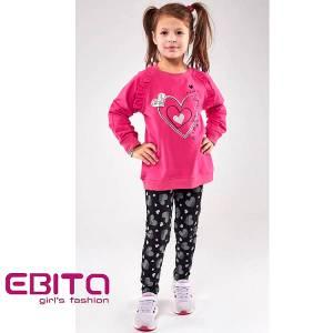 Σετ με κολάν κοριτσίστικο με τύπωμα Καρδιές Ebita Fashion
