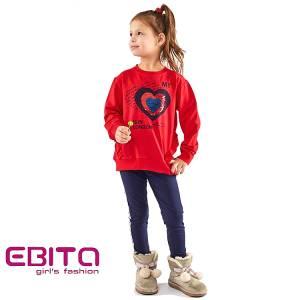 Σετ φούτερ με κολάν κοριτσίστικο σταμπωτό με πούλιες Ebita Fashion