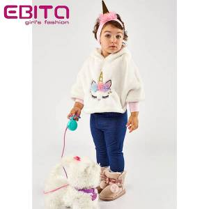 Σετ τρία τεμάχια με πόντσο και απλικέ Μονόκερος Ebita fashion