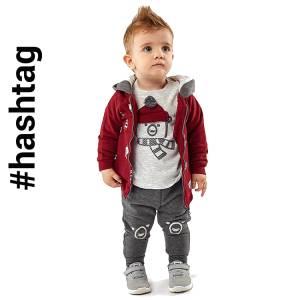 Φόρμα φούτερ βρεφική αγορίστικη με τύπωμα Bear 3 Τεμάχια Hashtag