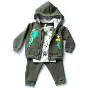 Φόρμα φούτερ βρεφική αγορίστικη με τύπωμα Dino 3 Τεμάχια Dreams