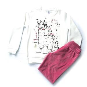 Πιτζάμα κοριτσίστικη βελούδο με τύπωμα Lama Dreams
