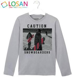 Μπλούζα μακρυμάνικη αγορίστικη με στάμπα snowborders Losan