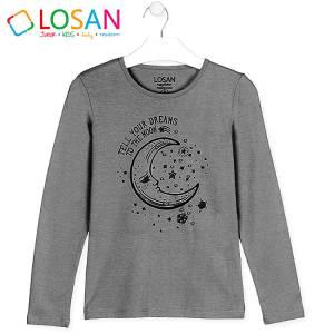Μπλούζα μακρυμάνικη κοριτσίστικη με στάμπα Moon Losan
