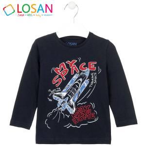 Μπλούζα μακρυμάνικη αγορίστικη με στάμπα πύραυλος Losan