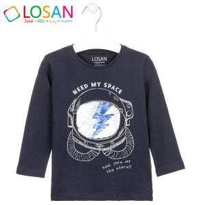 Μπλούζα μακρυμάνικη αγορίστικη με στάμπα κράνος Losan
