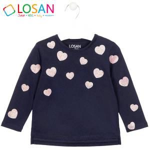 Μπλούζα μακρυμάνικη κοριτσίστικη με στάμπα καρδιές Losan