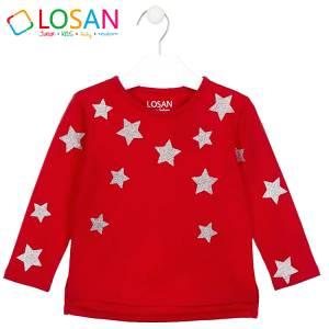Μπλούζα μακρυμάνικη κοριτσίστικη με στάμπα αστέρια Losan