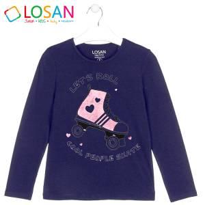 Μπλούζα μακρυμάνικη κοριτσίστικη με στάμπα πατίνι Losan