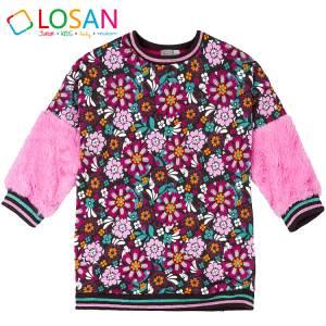 Φόρεμα κοριτσίστικο με τύπωμα εμπρός πίσω Losan