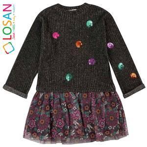 Φόρεμα μακρυμάνικο κοριτσίστικο με απλικέ και τούλι Losan