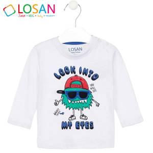 Μπλούζα μακρυμάνικη αγορίστικη με στάμπα smile Losan