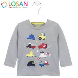 Μπλούζα μακρυμάνικη αγορίστικη με στάμπα οχήματα Losan