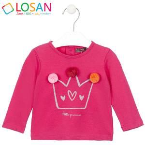 Μπλούζα μακρυμάνικη κοριτσίστικη με στάμπα και φουντάκια Losan