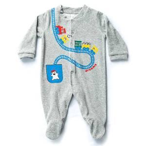 Φορμάκι βρεφικό για baby αγόρι ύφασμα βελούδο Βαγόνια Dreams