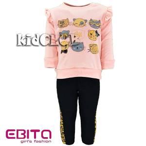 Σετ φούτερ με κολάν κοριτσίστικο σταμπωτό Γάτες Ebita Fashion