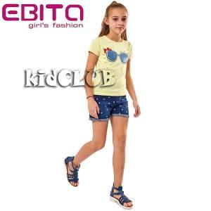 Σετ μπλούζα και σορτς κορίτσι σταμπωτό με χάντρες EBITA