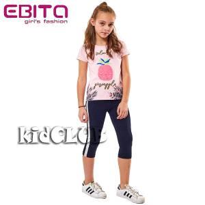 Σετ μπλούζα και κολάν κορίτσι σταμπωτό με πούλιες διπλής όψεως EBITA