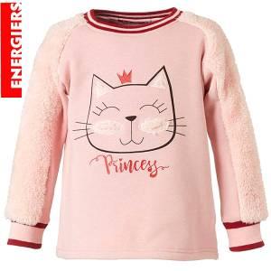 Μπλούζα φούτερ με μακρύ μανίκι κοριτσίστικη με τύπωμα Γάτα Energiers